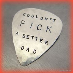 This is my Hand Stamped Sterling Silver GUITAR PICK!  It's a Great Gift for Dad, $49.00 - check it out at https://www.etsy.com/listing/87496028/hand-stamped-sterling-silver-guitar-pick# themarriedapp.com hearted <3