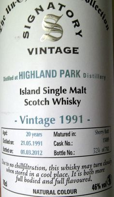 Highland Park 1991/2012 20yo 46% (782 bottles)