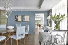 Creative License: Empty Nesters Devise A More Stylish Dwelling lights, decor, dining rooms, dine room, hous idea, dining room colors, silver blue, design, blues