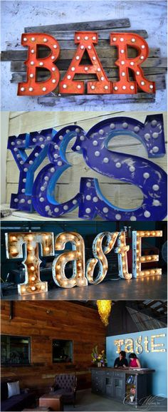 Retro Marquee Lighted Words by FosterWeld. Personalize with the words and color of your choice | Made on Hatch.co