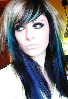 Electric Blue Highlights In Brown Hair Images & Pictures - Becuo