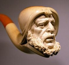 tobacco pipe, sea, beard, meerschaum pipe, intric carv