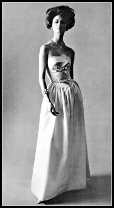 Katherine Pastrie in this delicate and charming silk faille evening gown of two shades of blue, by Grès, coiffure by Guillaume, photo by Pottier, 1963