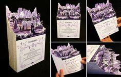 Invitaciones originales en papel moldeado con tonos en morado y lila de Olga Cuzuioc
