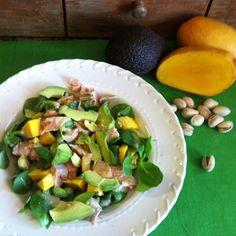 Mache Salad with Salmon, Avocado, Mango and PIsctachios | MImi Avocado