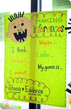 "another pinner said, ""we talked about words to use {sentence starters} when we're making/writing about inferences.  We went over schema again and they IMMEDIATELY knew what evidence was"""