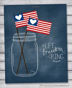 Cute (FREE) patriotic mason jar printable perfect for the 4th! via @lollyjaneblog #4thofJuly #printable jar printabl, jar free, mason jars, patriot mason