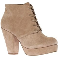 KG by Kurt Geiger Vito Suede Lace-Up Ankle Boots, Beige ($240) ❤ liked on Polyvore