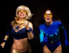 Genderbent Blue Beetle and Booster Gold cosplay. Excellent. The facial expressions make it.