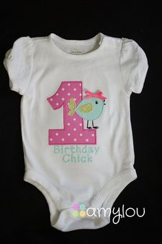 Birthday Chick Bird Birthday Onesie   SHORT SLEEVES by amyloubaby, $20.00