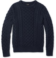 Cable-Knit Cotton Crew Neck Sweater