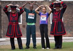 Olympic champions Mo Farah and Jessica Ennis-Hill do the 'Mo-Bot' with Yeoman Warders Mitch Jones (right) and James Duncan during a photocall at the Tower of London. Photo: Stefan Rousseau/PA Wire