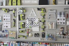DIY Garage Pegboard Storage Wall Using Only 5.5 inches of Depth. Great for storing paint, tools and supplies. {The Creativity Exchange}