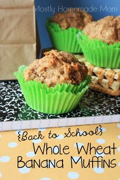 Back to School Whole Wheat Banana Muffins - no sugar in these healthy whole food muffins, perfect for busy mornings!