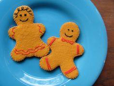 "100% wool felt gingerbread family christmas holiday cookies play food ""waldorf"". $8.00, via Etsy."