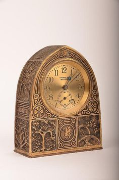 "Art Nouveau gilt-bronze ""Bookmark"" pattern desk clock by Tiffany Studios, N.Y."