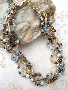 Multi strand necklace cream brown light blue by EvenTheStones,