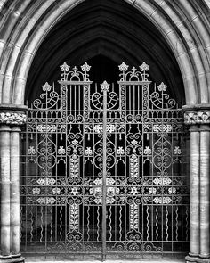 gated  Did you hear the one about the man who took his car for a service and got it stuck in the church doorway?  Ornate church gate in Leeds