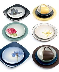Love the idea of this Noritake Colorwave collection for everyday dishes... mixing and matching all different colors, and the patterned plates tie everything together.