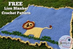The Ferocious Lion Baby Blanket is one of the cutest crochet baby patterns ever. Use worsted weight yarn in four different colors to make this cute crocheted afghan.