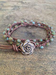 Rose Crochet Multi Wrap Bracelet, Anklet, Necklace Boho  Chic. $28.00, via Etsy.