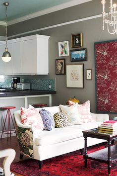wall colors, grey walls, pillow, living rooms, patterns, couch, gray walls, mixed prints, ceilings