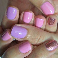 Lavender, Pink Glitter nail art cute for Spring.