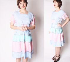 70s Striped Pastel Sorbet Summer Dress / Summer by aiseirigh, $58.00