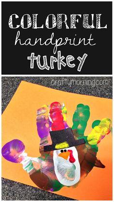 Colorful Handprint Turkey Craft #Thanksgiving craft for kids to make! | CraftyMorning.com