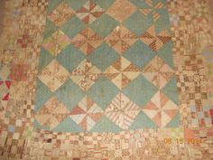 Antique-Quilt-Blues-and-Browns-With-2-Nine-Patch-Borders-Cutter-Condition