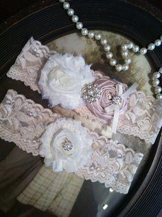 Wedding Garter - Ivory Lace Garter Set - Champagne Garter - Vintage - Bridal Garter - Vintage Garter - Toss Garter - Rhinestone - Pearl. $25.00, via Etsy.