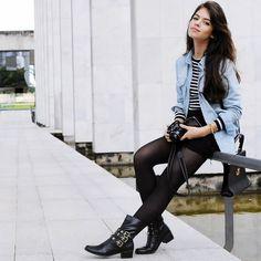 #stealthelook #look #looks #streetstyle #streetchic #moda #fashion #style #estilo #inspiration #blusa #camisa #Jeans #Listrado #Meiacalça #preto #saia