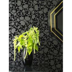 Graham & Brown Barbara Hulanicki Flock Skulls Wallpaper in Black
