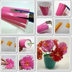 DIY plastic cup flowers