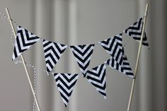 Black and White Chevron Cake Bunting, Fabric Banner, Birthday Decoration, Party Decor. $16.00, via Etsy.