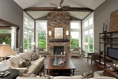 wall colors, living rooms, custom homes, window, fireplace design, living room designs, beam, live room, stone fireplaces