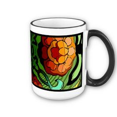 """Craftsman Garden - This vibrantly-colored ceramic mug features an original digital painting of highly stylized chrysanthemums & tulips, in the rich and bold colors of the earth by artist, Leslie Sigal Javorek (a.k.a. 'IconDoIt'), inspired by """"Arts and Crafts Movement"""" of the late 1800's.  Available in 2 sizes, multiple styles & trim colors. Part of our 'Craftsman Garden Series' of table linens, dishes, pillows & more, available exclusively at: http://www.zazzle.com/icondoit?rf=238155573613991097"""
