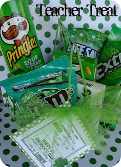 gift baskets, teacher gifts, gift ideas, saint patricks day, green life, st patricks day, care packages, kid, day care
