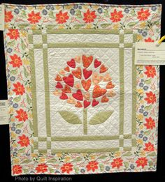 Springtime by Audrey L. McInerny, based on the 'Have a Heart' pattern by Nancy Rink.  2014 Concord quilt show, photo by Quilt Inspiration
