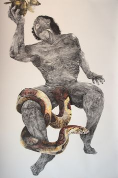 "Artist: Antonio Fonseca Vázquez. Title: Adam (Second Version)  Media: Drawing Charcoal, and zafron on paper.  Dimensions: 72"" x 50"".  Date: 1997.  © Antonio Fonseca Vázquez"