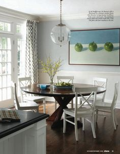 Round table and light fixture