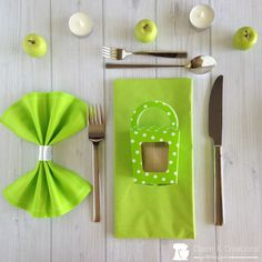 Lime green table set