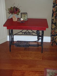 Vintage WHITE Sewing Machine Treadle Base Coffee Table....Red Coffee Table