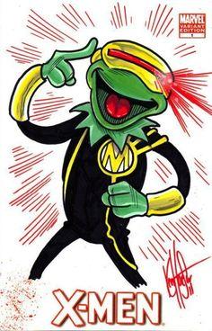 Kermit as Cyclops. X-Men Muppets By Ken Haeser