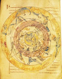 "Map of heaven with zodiac  From a medieval illuminated manuscript from Burgo de Osma, which contains among others the book of Marcus Tullius Cicero with the title: ""Somnium Scipionis"" with a comment from Macrobius.12th century"