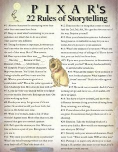 Words of Wisdom for Writers - Thanks to Pixar