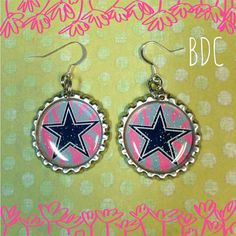 Dallas Cowboys Bottle Cap Earrings on Etsy, $6.00