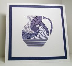 Iris Folded Card - Blue Pitcher