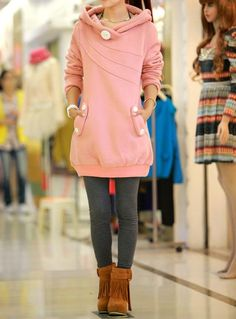 Ladylike Style Long Sleeves Button Decoration Hooded Solid Color Coat For Women (AS THE PICTURE,ONE SIZE) | Sammydress.com