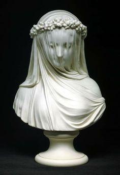 Copeland Parian bust: The Bride, 19th century. Derived from Raffaele Monti's Veiled Vestal, 1847.